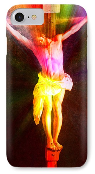 Christ On The Cross Pa Prismatic Burst Vertical IPhone Case by Thomas Woolworth