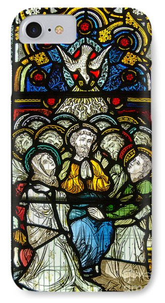 Christian Pentecost On A Stained Glass At Christ Chuch Cathedral Dublin IPhone Case by RicardMN Photography