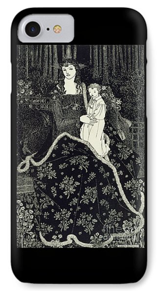 Christmas Card IPhone Case by Aubrey Beardsley