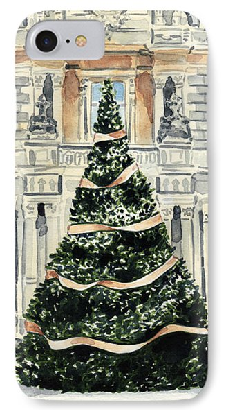 Christmas Tree At Versailles French Chateau Holiday IPhone Case by Laura Row
