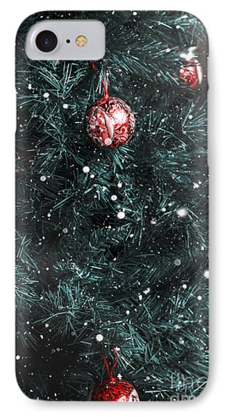 Christmas Tree In Winter Snow. Card Background IPhone Case by Jorgo Photography - Wall Art Gallery