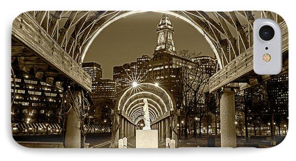 Christopher Columbus Park Boston Ma Trellis Statue Sepia IPhone Case by Toby McGuire