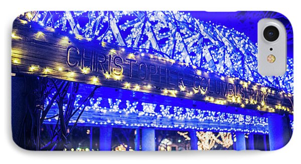 Christopher Columbus Park Trellis Lit Up For Christmas Boston Ma Xmas IPhone Case by Toby McGuire