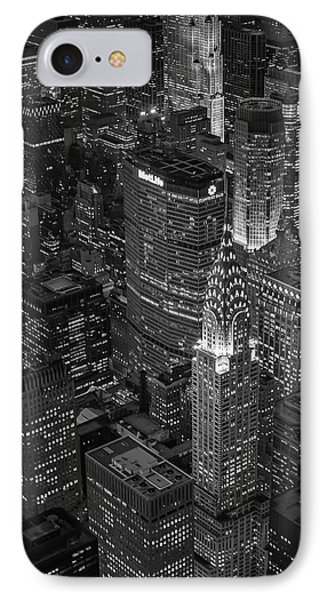 Chrysler Building Aerial View Bw IPhone Case by Susan Candelario