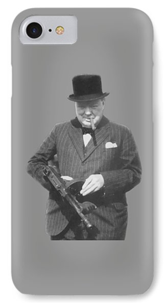 Churchill Posing With A Tommy Gun IPhone Case by War Is Hell Store
