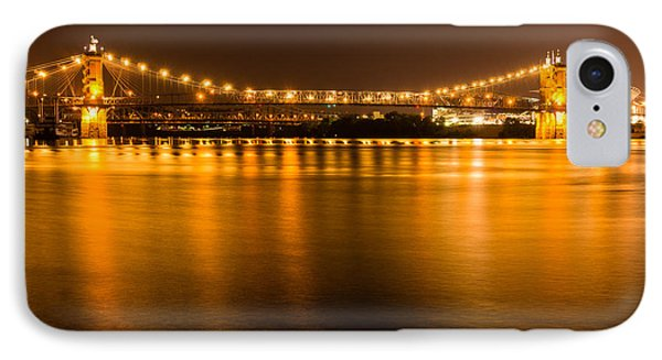 Cincinnati Roebling Bridge At Night IPhone Case by Paul Velgos