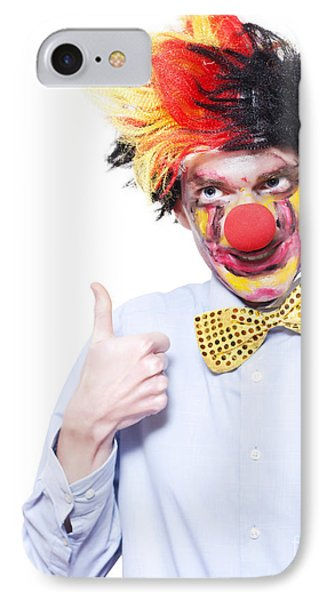 Circus Clown With Thumb Up To Carnival Advertising IPhone Case by Jorgo Photography - Wall Art Gallery