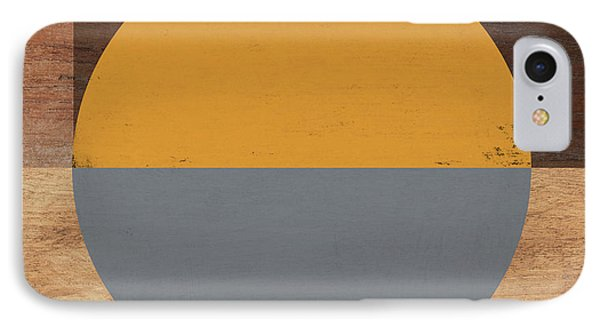 Cirkel Yellow And Grey- Art By Linda Woods IPhone Case by Linda Woods