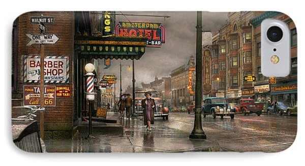 City - Amsterdam Ny -  Call 666 For Taxi 1941 IPhone Case by Mike Savad