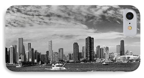 City - Chicago Il -  Chicago Skyline And The Navy Pier - Bw IPhone Case by Mike Savad