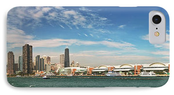 City - Chicago Il -  Chicago Skyline And The Navy Pier IPhone Case by Mike Savad