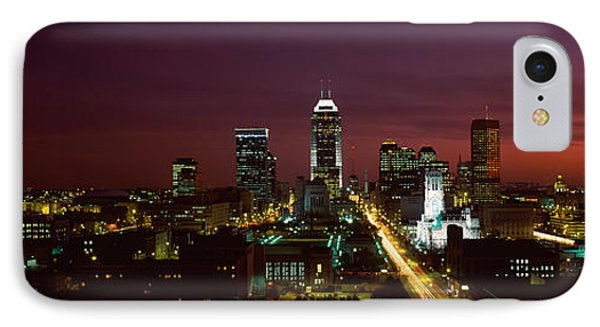 City Lit Up At Night, Indianapolis IPhone Case by Panoramic Images