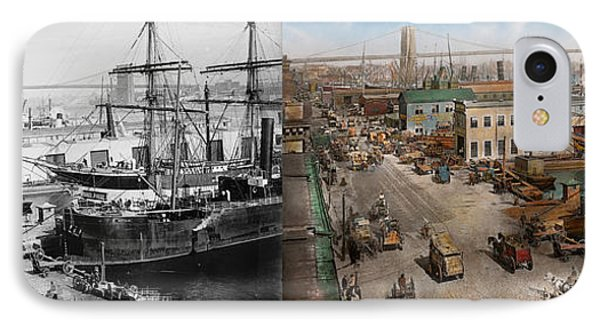 City - Ny - South Street Seaport - 1901 - Side By Side IPhone Case by Mike Savad