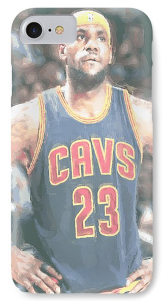 Cleveland Cavaliers Lebron James 5 IPhone Case by Joe Hamilton