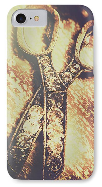 Close Up Of Jewellery Scissors Of Bronze IPhone Case by Jorgo Photography - Wall Art Gallery