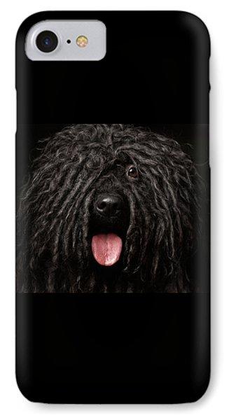 Close Up Portrait Of Puli Dog Isolated On Black IPhone Case by Sergey Taran