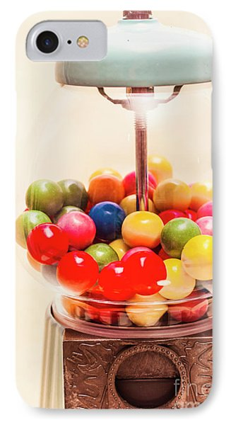 Closeup Of Colorful Gumballs In Candy Dispenser IPhone Case by Jorgo Photography - Wall Art Gallery