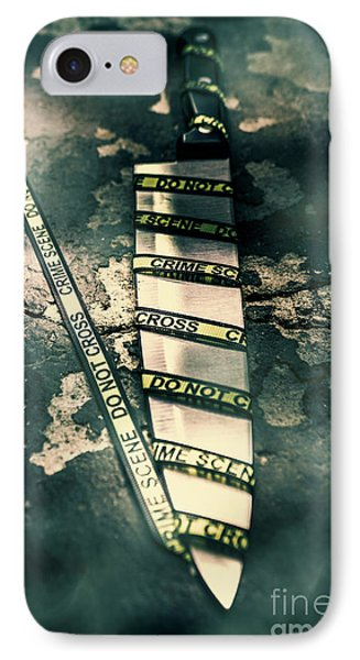 Closeup Of Knife Wrapped With Do Not Cross Tape On Floor IPhone Case by Jorgo Photography - Wall Art Gallery