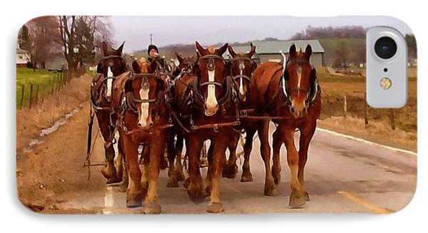 Clydesdale Amish Plow Team IPhone Case by Chris Flees
