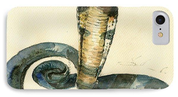 Cobra Snake Watercolor Painting Art Wall IPhone Case by Juan  Bosco
