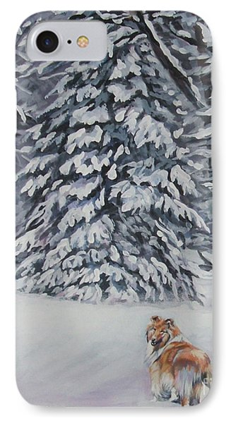 Collie Sable Christmas Tree Phone Case by Lee Ann Shepard