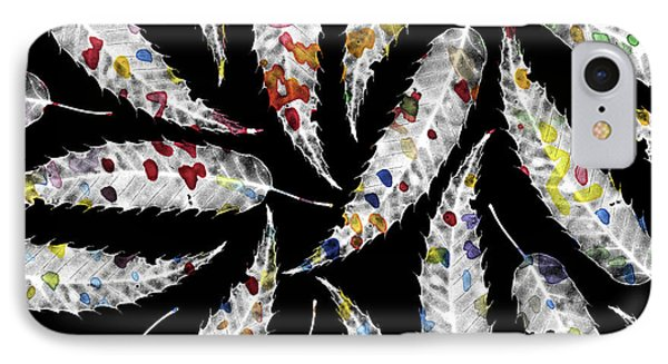 Colorful Black And White Leaves IPhone Case by Susanne Kasielke