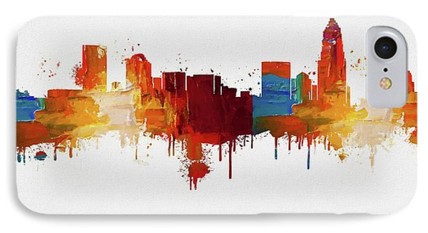 Colorful Charlotte Skyline Silhouette IPhone Case by Dan Sproul