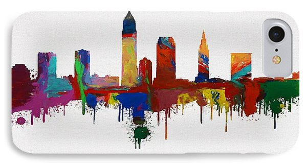 Colorful Cleveland Skyline Silhouette IPhone Case by Dan Sproul