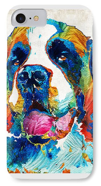 Colorful Saint Bernard Dog By Sharon Cummings IPhone Case by Sharon Cummings