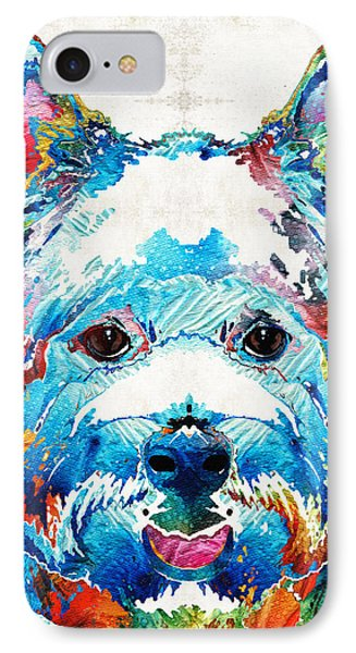 Colorful West Highland Terrier Dog Art Sharon Cummings IPhone Case by Sharon Cummings
