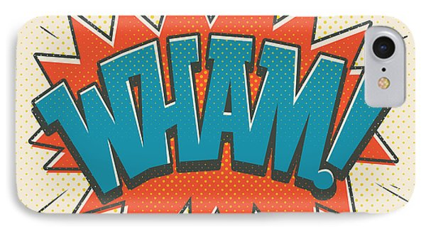 Comic Wham On White IPhone Case by Mitch Frey