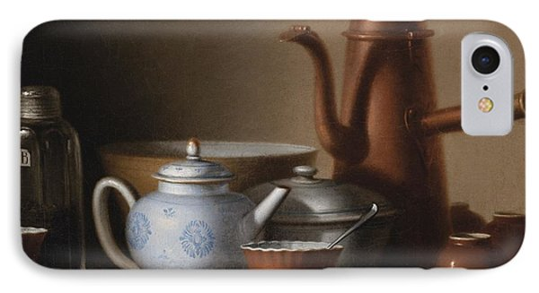 Composition With A Copper Pitcher And A Tea Set IPhone Case by Celestial Images