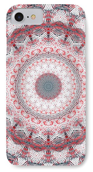 Concrete And Red Mandala- Abstract Art By Linda Woods IPhone Case by Linda Woods