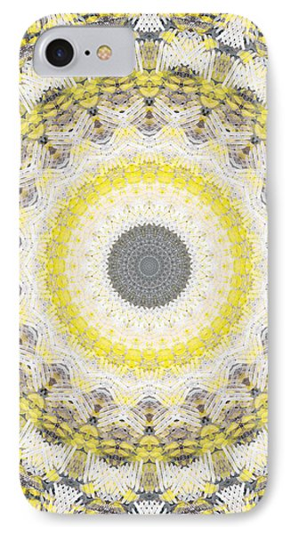 Concrete And Yellow Mandala- Abstract Art By Linda Woods IPhone Case by Linda Woods