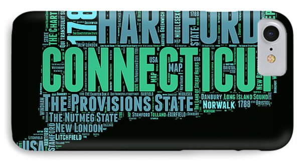 Connecticut Word Cloud Map 1 IPhone Case by Naxart Studio