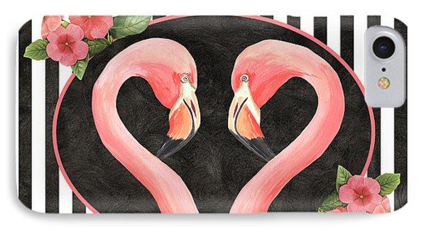 Contemporary Flamingos 1 IPhone Case by Debbie DeWitt