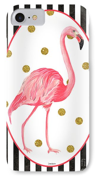 Contemporary Flamingos 2 IPhone Case by Debbie DeWitt