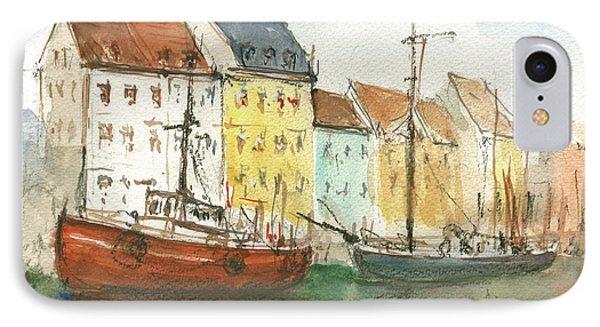 Copenhagen Harbour With Boats IPhone Case by Juan Bosco