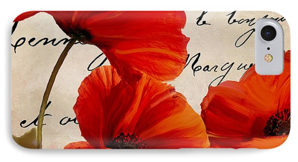 Coquelicots Rouge I IPhone Case by Mindy Sommers