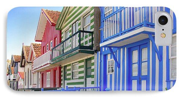 Costa Nova Houses 4 IPhone Case by Carlos Caetano