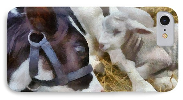 Cow And Lambs Phone Case by Michelle Calkins