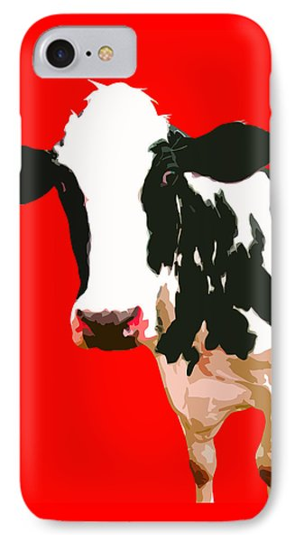 Cow In Red World IPhone Case by Peter Oconor