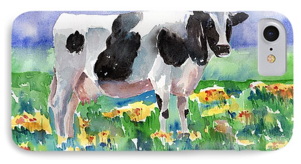 Cow In The Meadow IPhone Case by Arline Wagner