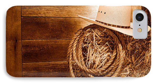 Cowboy Hat On Hay Bale - Sepia IPhone Case by Olivier Le Queinec