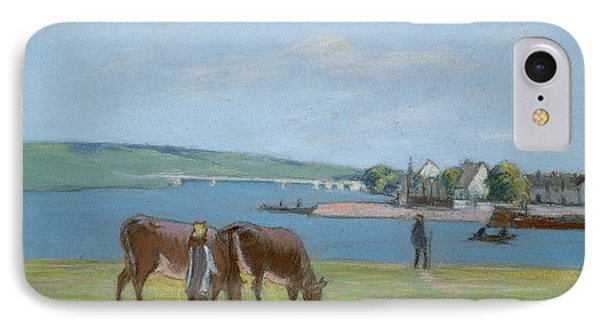 Cows On The Banks Of The Seine At Saint Mammes Phone Case by Alfred Sisley