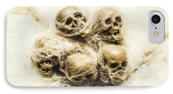 Creepy Skulls Covered In Spiderwebs IPhone Case by Jorgo Photography - Wall Art Gallery