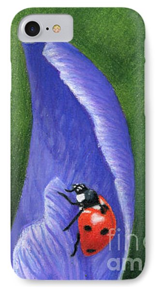 Crocus And Ladybug Detail IPhone Case by Sarah Batalka