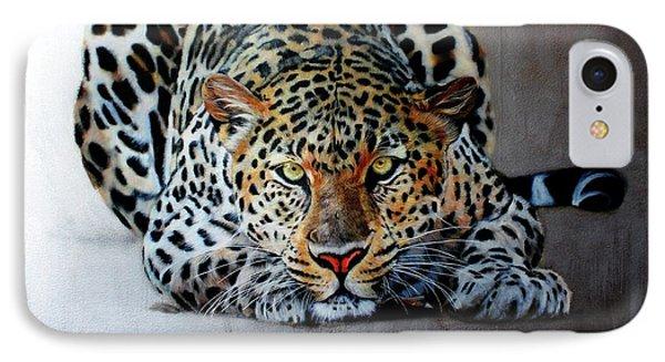 Crouching Leopard Phone Case by Susana Falconi