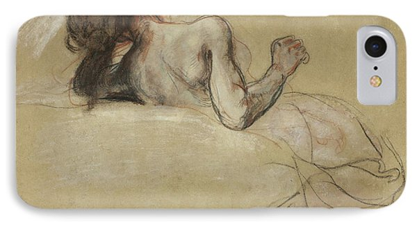 Crouching Woman IPhone Case by Ferdinand Victor Eugene Delacroix