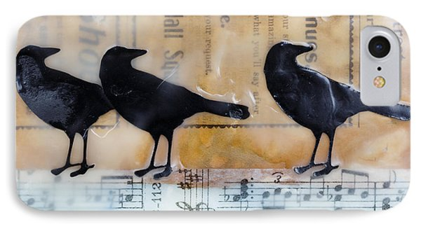 Crows Encaustic Mixed Media IPhone Case by Edward Fielding